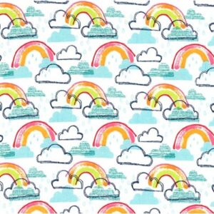 Rainbow Kids Flannel By Michael Miller - Aqua