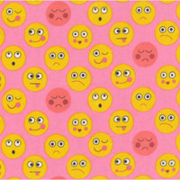 Funny Faces Flannel By Michael Miller - Pink