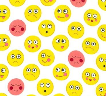 Funny Faces Flannel By Michael Miller - White