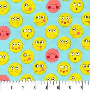 Funny Faces Flannel By Michael Miller - Aqua