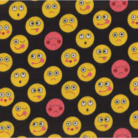 Funny Faces Flannel By Michael Miller - Black