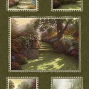 Inspirations For Living By Thomas Kinkade For Benartex - Green/Multi