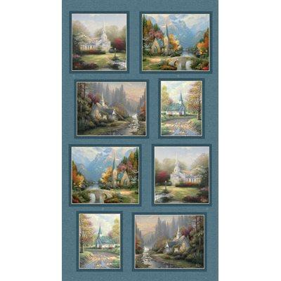 Inspirations For Living By Thomas Kinkade For Benartex - Blue/Multi