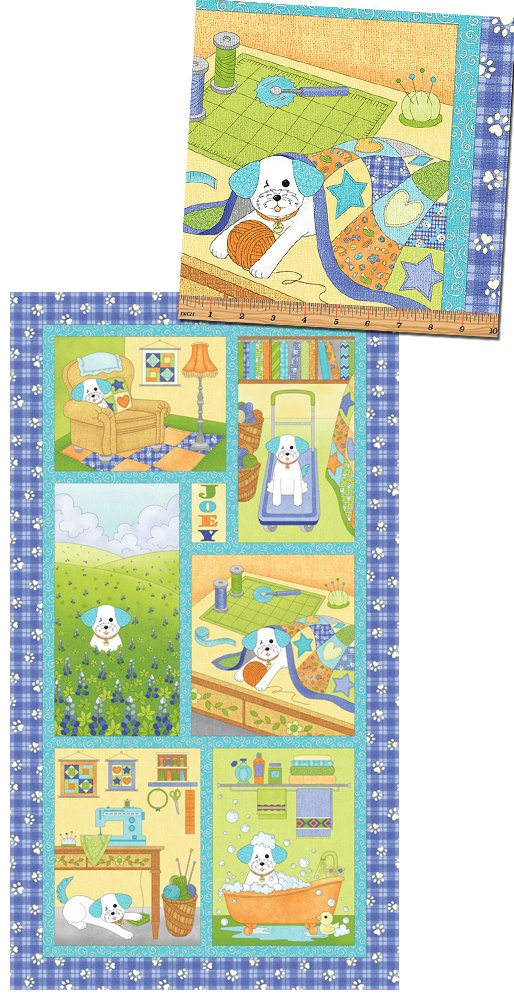 Joey The Shop Dog By Rose Ann Cook For Benartex - Blue