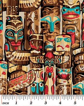 Totem Flannel By Kanvas For Benartex - Tan/Multi