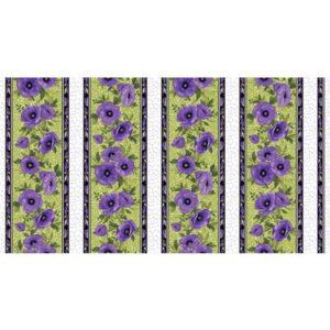 Midnight Poppies By Benartex - Green/Purple