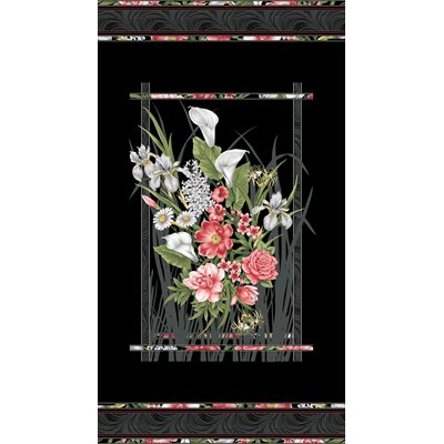 Magnificent Blooms By Jackie Robinson For Benartex - Black/Multi - Panel