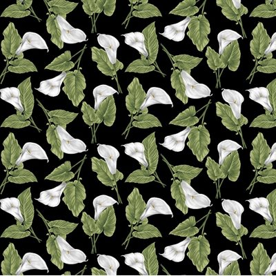 Magnificent Blooms By Jackie Robinson For Benartex - Black/Multi