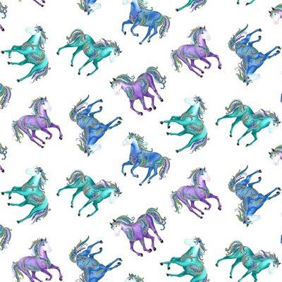 Horsen Around By Ann Lauer For Benartex - White/Multi