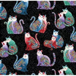 Catitude 2 Purrfect Together By Ann Lauer For Benartex - Black/Multi