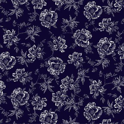 Violet Twilight By Kanvas Studio For Benartex - Navy/Purple