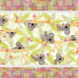 Koala Baby By Kanvas Studio For Benartex - Pink/Lime