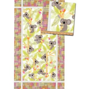 Koala Baby Flannel By Kanvas Studio For Benartex - Pink/Lime