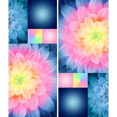 Kablooms Digital Printby Hoffman - Neon