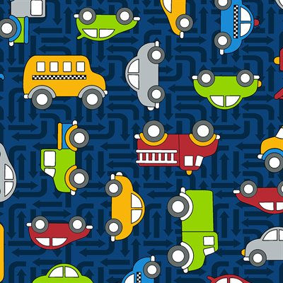 Traffic Jam By Kids Quilt For Rjr Fabrics - Dark Blue