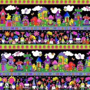 Garden Gnomes By Sue Marsh For Rjr Fabrics - Black