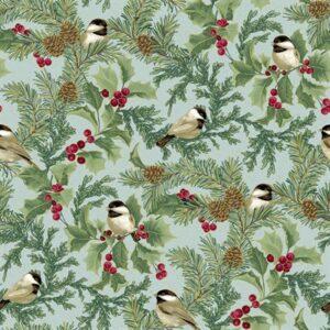 Festive Chickadees By Jackie Robinson For Benartex - Sea Mist