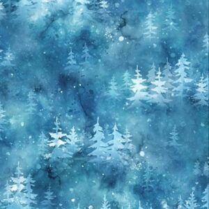 Woodland Winter Digital Print By Hoffman - Sapphire