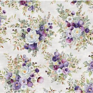 Lilac & Sage By Punch Studio For Rjr Fabrics - Metallic - Bouquet