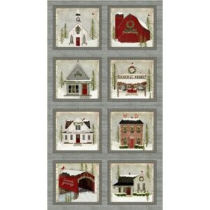 Snow Village By Beth Albert For Benartex - Panel - Multi