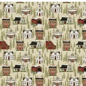Snow Village By Beth Albert For Benartex - Beige