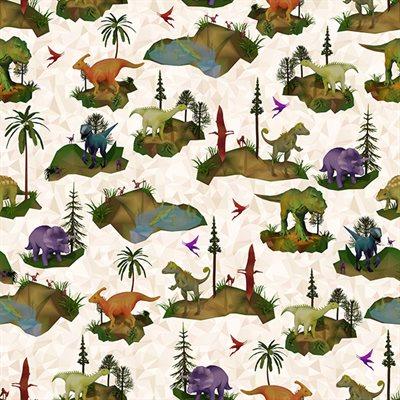 Dino Mite Digital Print By Hoffman - Cream