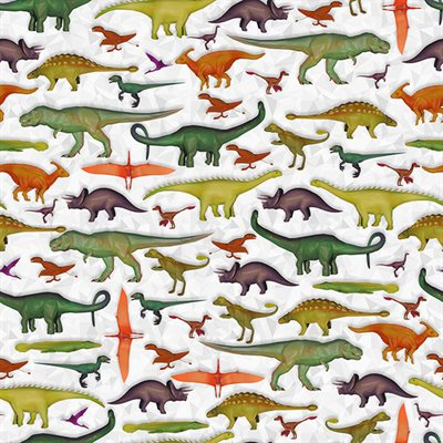 Dino Mite Digital Print By Hoffman - Grey