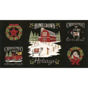 Homegrown Holidays By Deb Strain For Moda - Panel - Farmhouse Black