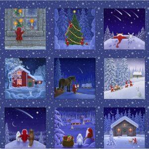 Tomten's Christmas Digital Print By Lewis & Irene - Snowy Scenes Panel - Dark Blue
