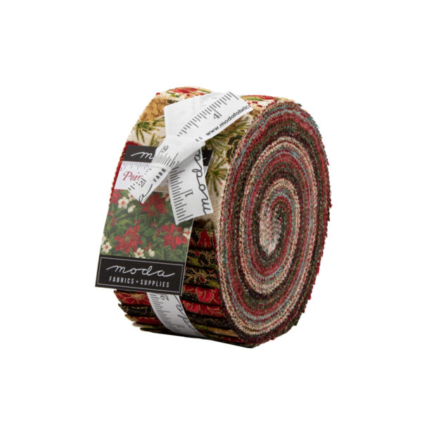 Poinsettias And Pine Metallic Jelly Roll By Moda