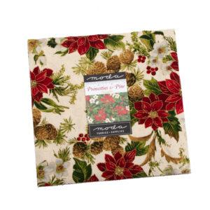 Poinsettias And Pine Metallic Layer Cake By Moda