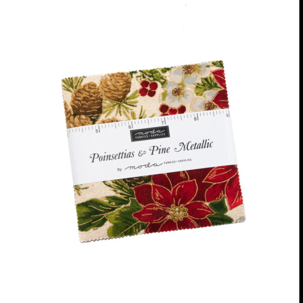 Poinsettias And Pine Metallic Charm Pack By Moda