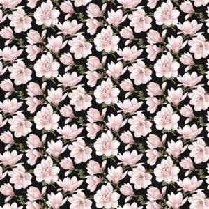 Accent On Magnolias By Jackie Robinson For Benartex - Coral/Black