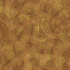 Radiant Paisley By Kanvas Studio For Benartex - Saddle/Gold