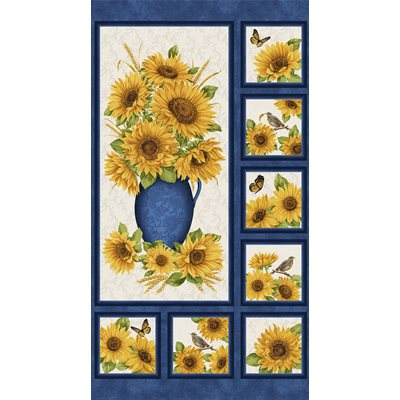 Accent On Sunflowers By Jackie Robinson For Benartex - Blue/Mulit - Panel