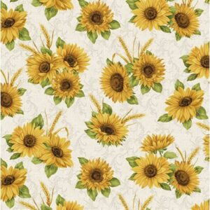 Accent On Sunflowers By Jackie Robinson For Benartex - Linen