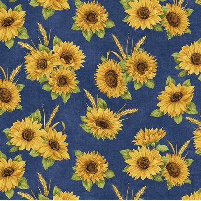 Accent On Sunflowers By Jackie Robinson For Benartex - Blue