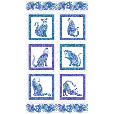 Catitude Singing The Blues By Ann Lauer For Benartex - White/Multi - Pearl - Panel