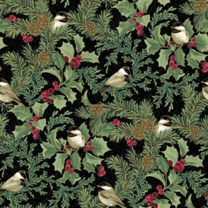 Festive Chickadees By Jackie Robinson For Benartex - Black