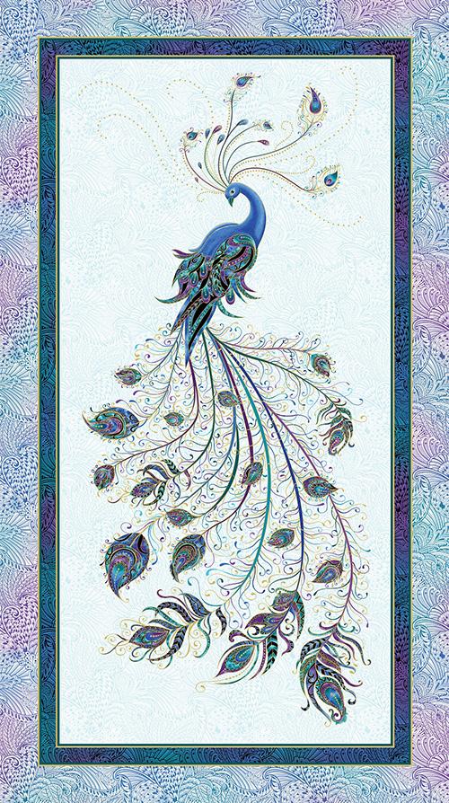 Peacock Flourish By Ann Lauer For Benartex - Lt. Teal/Multi