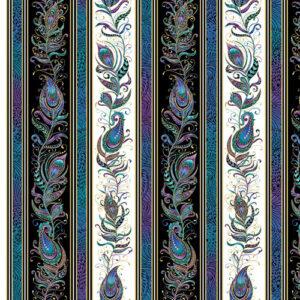 Peacock Flourish By Ann Lauer For Benartex - Black/White