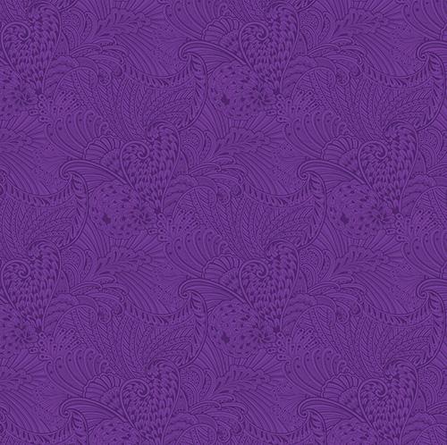 Peacock Flourish By Ann Lauer For Benartex - Dk. Purple