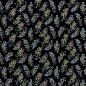 Peacock Flourish By Ann Lauer For Benartex - Black/Multi