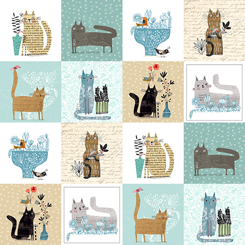 It's Raining Cats And Dogs By Contempo Studio For Benartex - Teal