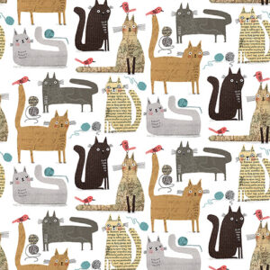 It's Raining Cats And Dogs By Contempo Studio For Benartex - White