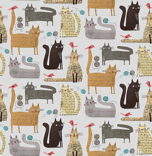 It's Raining Cats And Dogs By Contempo Studio For Benartex - Grey