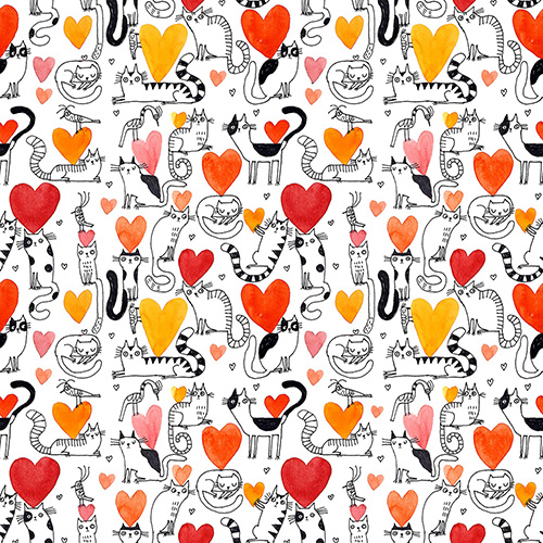 It's Raining Cats And Dogs By Contempo Studio For Benartex - Coral