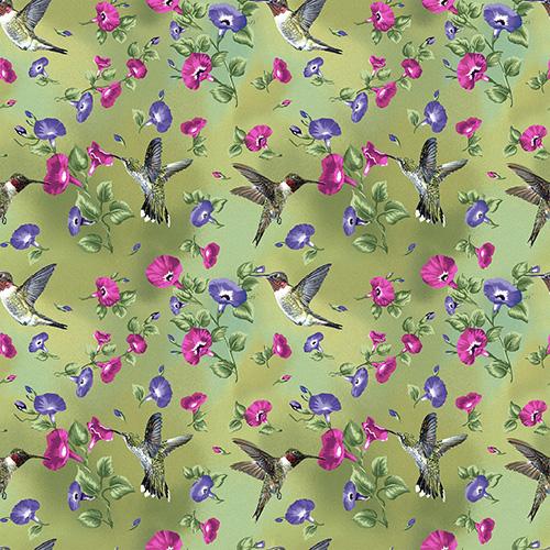 Hummingbird Song By Danny O'Driscoll For Benartex - Green