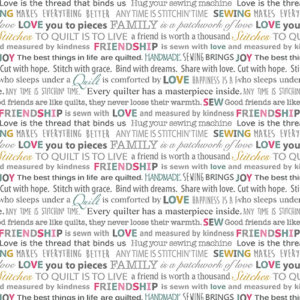 Words To Quilt By By Cherry Guidry For Benartex - White