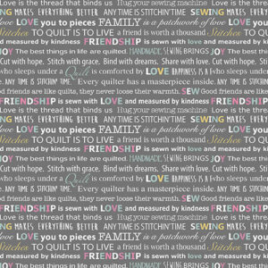 Words To Quilt By By Cherry Guidry For Benartex - Grey